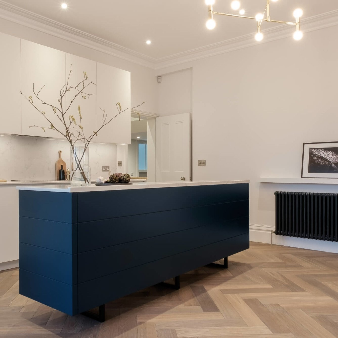 Apartment in Hampstead- bespoke two tone kitchen and island in royal blue