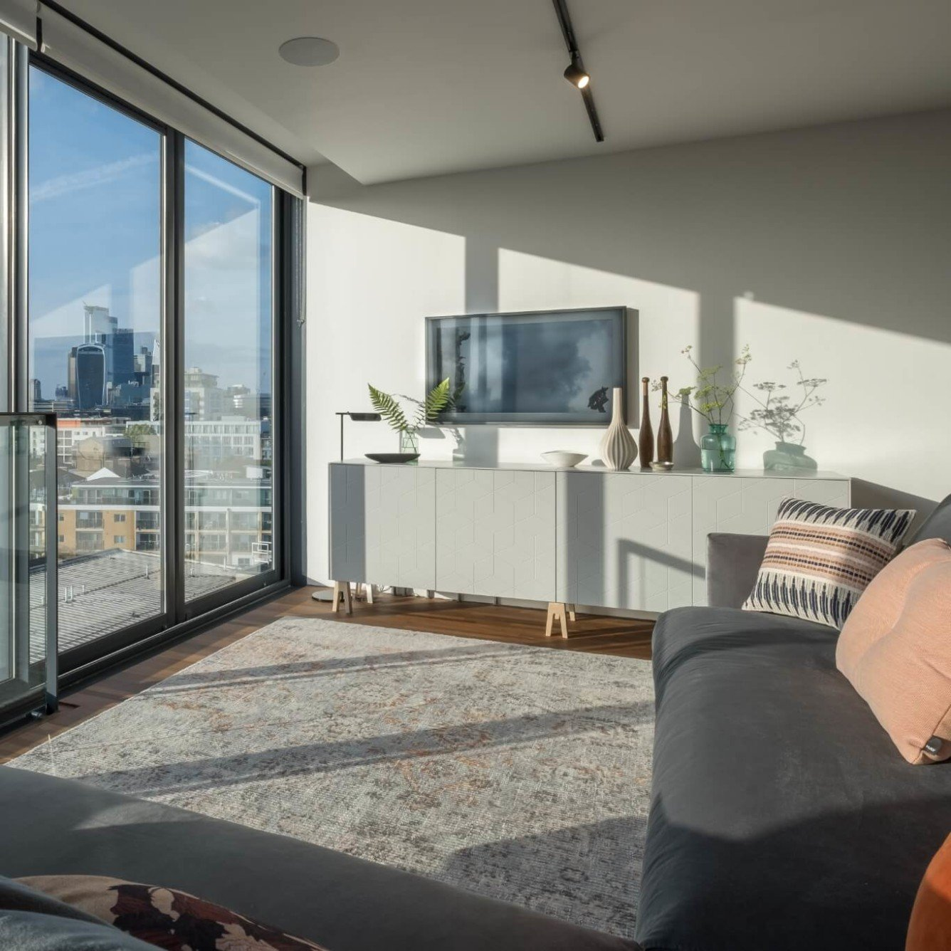 Hartleys Jam Factory Penthouse renovation - living room tv corner
